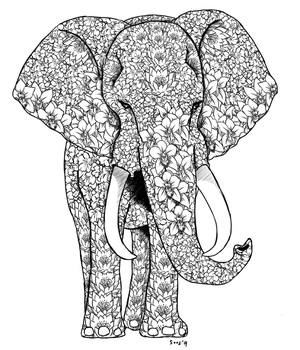 Tattoo request: Flowery Elephant by Soozan