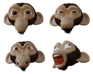 Suzanne head facial expressions (+free 3D model) by ChameleonScales