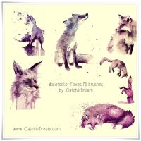 Watercolor Foxes High Res. PS Brushes by iCatchUrDream