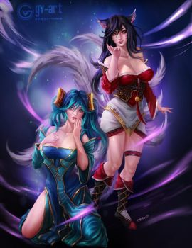 Sona and Ahri by gv-art
