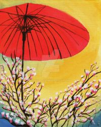 Pink Magnolias and Red Umbrella by XavalonX