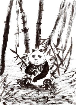 Panda in bamboo by GodofLizards