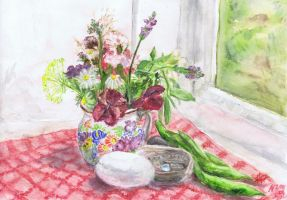 Still life with summer flowers by Starsong-Studio