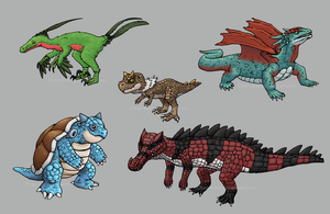 Dinos, Dragons and a Turtle by Chari-Artist