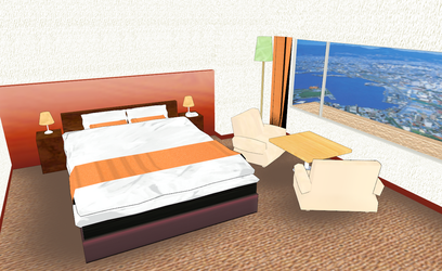 MMD Small (and cute) Hotel room by amiamy111