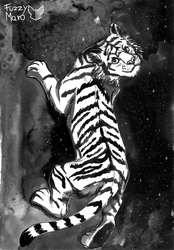 #2-Floating tiger-InkTober 2018 by FuzzyMaro