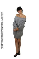 Glamaker off shoulder knit sweater dress VI by QueenWerandra