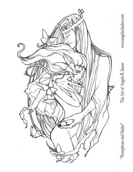 Persephone and Hades Line Art by AngelaSasser