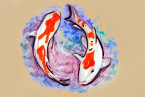 Watercolor painting of koi fish in water by oanaunciuleanu