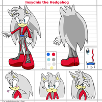 CM: Insydnis the Hedgehog reference sheet by shadowhatesomochao