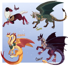 [Closed] Auction - Zodiacal Dragon Adoptables by Draconeko