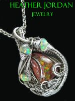 Mexican Cantera Opal Pendant in Antiqued Sterling by HeatherJordanJewelry