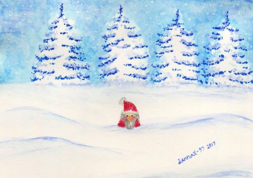 Gnome stuck in the snow by CosySister