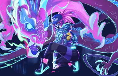 KDA Akali print (limited holo) #2 by pillowds