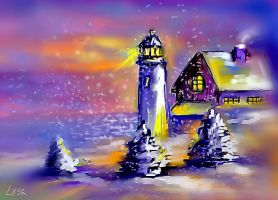 Lighthouse at Christmas by happytimer