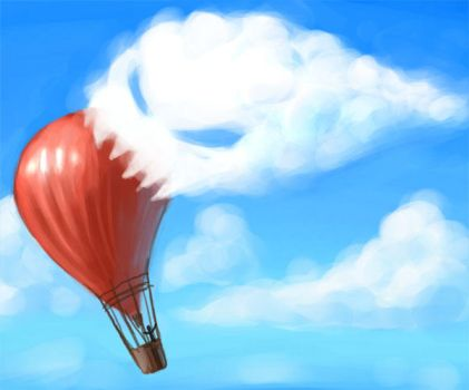 cloud eating hot air balloon by Morriperkele