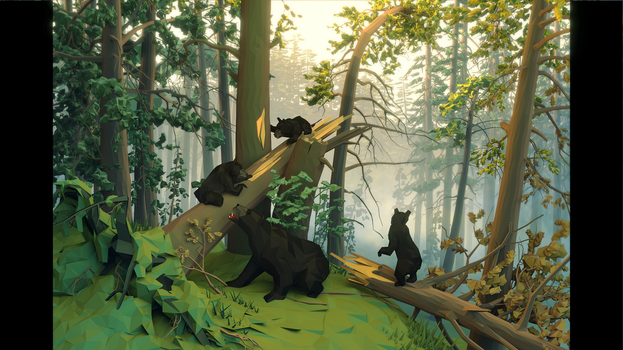 Morning in the pine forest (low poly style) by Godzilko