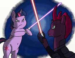 Twilight Sparkle vs Tempest Shadow: Lightsabers by daimando