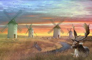 Windmill, and the fallow deer by ladyjudina