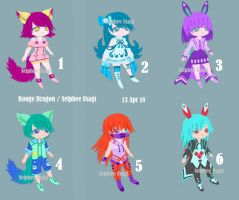 OPEN Kemonomimi adoptable batch 1 by SelpheeUsagi