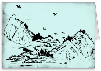Mountains and Valleys Greeting Card by vimo777