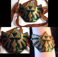 Leather Hylian Crest Arm Cuff by wickedorin