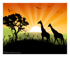 African sunset by Liuanta