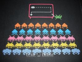 Invader school cross stitch by LordLibidan