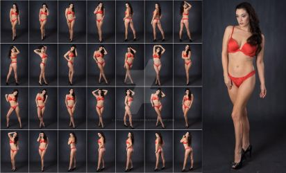 Stock: Bree Red Lingerie Standing - 28 Images by stockphotosource