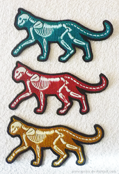 X-ray GLOW cats  embroidery patches by CyanFox3