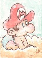 Baby Mario Sketch card by SoVeryUnofficial