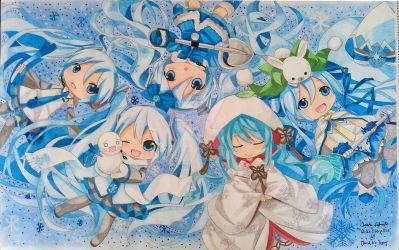Snow Miku chibi group - completed by Di5a5terp13ce