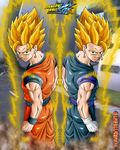 gokhan+vegehan double fusion - back pose ssj by Naruttebayo67