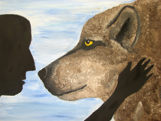 'Shadow' Wolf Painting by macdvl