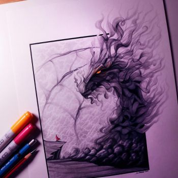 Smoke Dragon Drawing by LethalChris