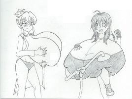 Breast pumping with Xeno and Saori by dilios999
