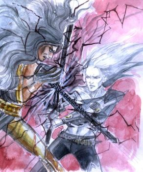 Clash of the Rune blades by merriya