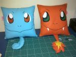 Handmade Pokemon Squirtle and Charmander Pillows by RbitencourtUSA