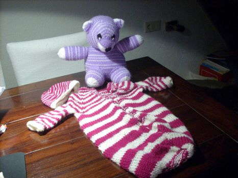knitted baby set by LittleNespa