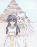 Egyptian Inuyasha and Kagome by elenavill