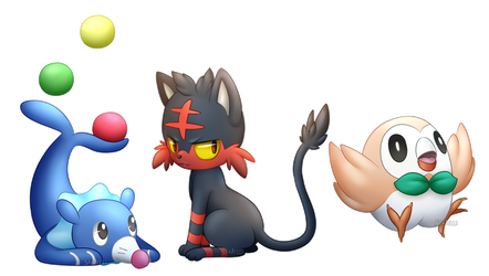 Popplio, Litten, and Rowlet  (+speed drawing) by SeaJelli