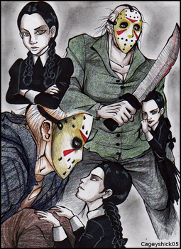 Jason and Wednesday doodle by Cageyshick05