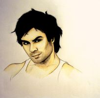 Ian Somerhalder Pencil Drawing by PandorasBox341