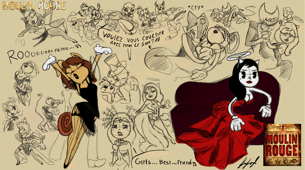 BATIM Moulin Rouge SKETCHES DOODLES by fnafmangl