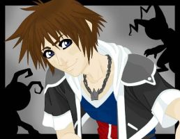Sora with Heartless Backround by TheSpyWhoLuvedMe