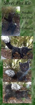 Silver Fox Kit OOAK Posable Art Doll by Eviecats