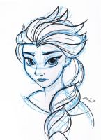 Elsa pen sketch by mell0w-m1nded