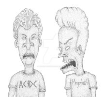 Beavis and Butt-head Stippling by JesseAllshouse