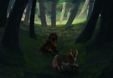 Felvargs- Exploring the woods for the first time by deadlylupine