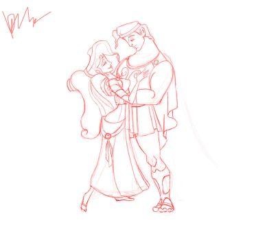 Hercules and Megara sketch by sailormuffin